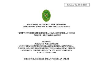 Tentang Petunjuk Pelaksanaan  Surat Edaran Mahkamah Agung Republik Indonesia  Nomor 10 Tahun 2010 Tentang Pedoman Bantuan Hukum  Lampiran A Perkara Perdata, Pos Bantuan Hukum  Dan Zitting Plaats
