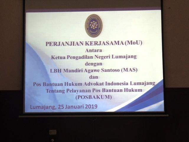 Penandatanganan MoU oleh KPN Lumajang tentang POSBAKUM
